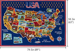 Smithsonian Rug US Map Learning Carpets Bedding Play Mat Classroom Decorations Blue Area Rugs 5x7, Navy