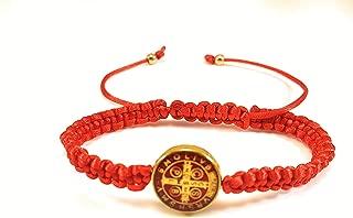 Saint Benedict Red Bracelet with Gold and Red Color Medal San Benito Pulsera Roja Con Medalla Dorada Y Rojo