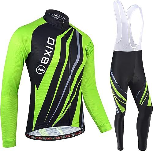 BXIO Maillot de Cyclisme d'hiver pour Hommes, vêtements de vélo d'automne Fermeture à glissière complète VTT vêtement...
