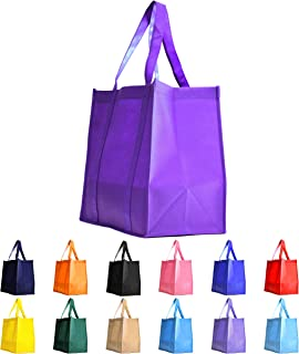 Gift Expressions Grocery Tote Bag | 10 Pack | Purple | Heavy Duty Large Gift Bags & Super Strong, Reusable Eco Friendly Shopping Bags, Stand Up Bottom, Recyclable Non Woven High Quality Tote Bags