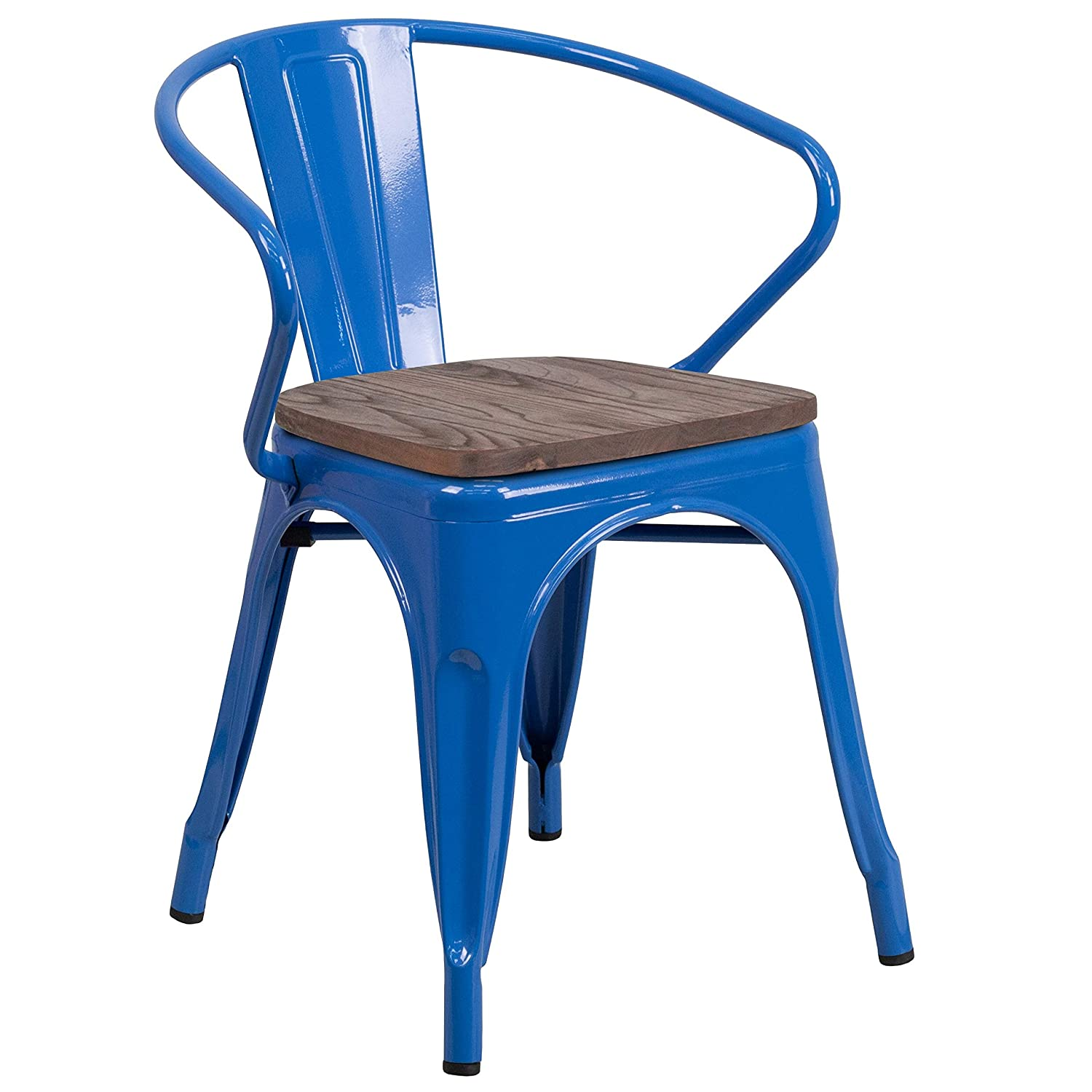 MFO Blue Metal SALENEW very popular Chair with Seat Wood and Arms Max 79% OFF