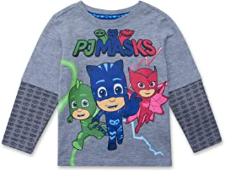PJ Masks Long Sleeve T-Shirt - PJMASKS Catboy, Owlette, Gekko Long Sleeve 2Fer Shirt