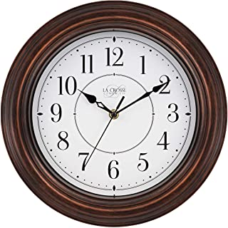 "La Crosse Technology 404-2630W 12 Inch Evelyn Quartz Wall Clock with Silent Movement, 12"", Brown"