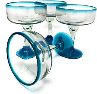 Mexican Hand Blown Glass – Set of 4 Hand Blown Margarita Glasses (16 oz) with Aqua Blue Rims