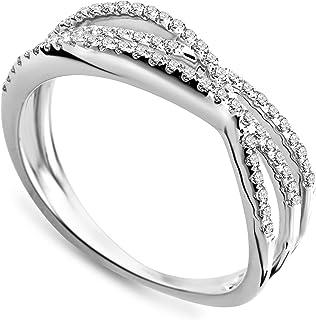 Miore - Anello in oo bianco (9 carati) con diamante