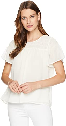 Ruffled Short Sleeve Smocked Blouse