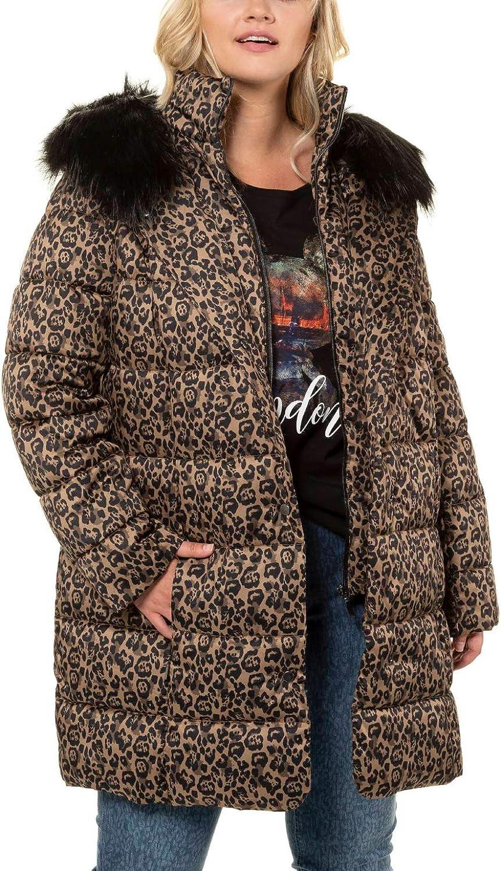 Ulla Popken Women's Plus Size Fur Trim Animal Print Quilted Jacket Multi 28/30 723695 90