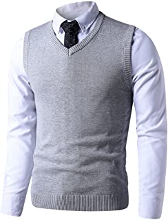LTIFONE Mens Slim Fit V Neck Sweater Vest Basic Plain Short Sleeve Sweater Pullover Sleeveless Sweaters with Ribbing Edge