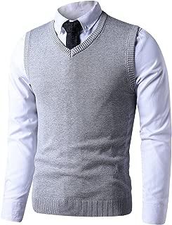 Mens Slim Fit V Neck Sweater Vest Basic Plain Short Sleeve Sweater Pullover Sleeveless Sweaters with Ribbing Edge