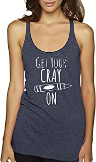 Get Your Crayon, Women's Graphic Racerback Tank Top, Funny Gift for Her, Shirts with Sayings, Yoga Tee, Indigo or White