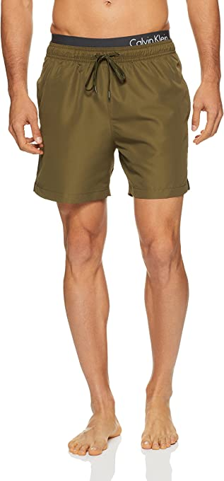 Calvin Klein Men's Core Solids Double Logo Waistband Swim Shorts