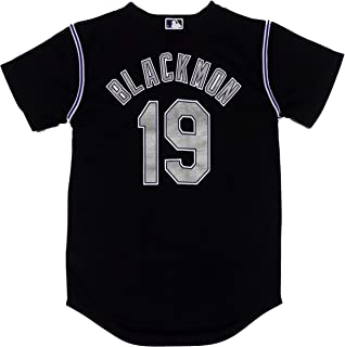 Outerstuff Charlie Blackmon Colorado Rockies Black Youth Cool Base Alternate Replica Jersey
