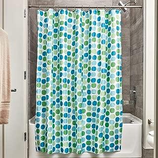 iDesign Rialto Fabric Shower Curtain, Modern Mildew-Resistant Bath Curtain for Master Bathroom, Kid's Bathroom, Guest Bathroom, 72 x 72 Inches, Blue and Green