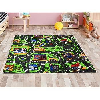 Ondis24 Kinder Spielteppich gro/ß f/ür Kinderzimmer Ma/ße 67x100 cm zweiseitig Kinderteppich Stra/ße /& Bauernhof Design