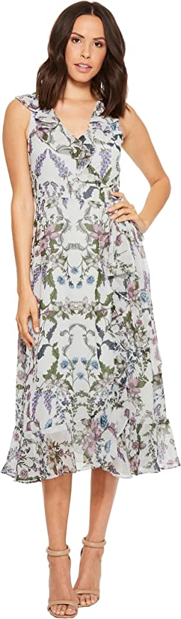 Floral Printed Chiffon Sleeveless Wrap Dress