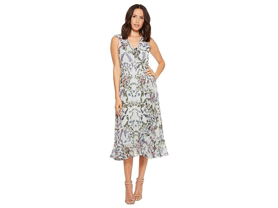 Donna Morgan Floral Printed Chiffon Sleeveless Wrap Dress (Grey/Lavender Mutli) Women