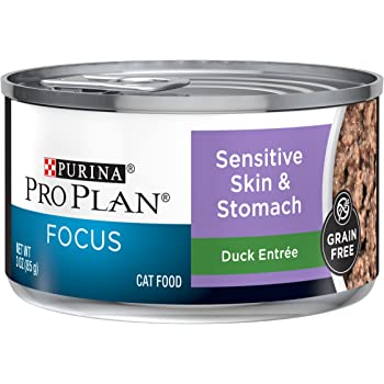 Purina Pro Plan Sensitive Stomach, Grain Free Wet Cat Food, FOCUS Sensitive Skin & Stomach Duck - (24) 3 oz. Pull-Top Cans