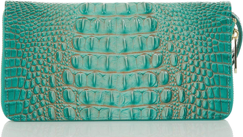 Brahmin Melbourne Skyler Leather Wallet Wristlet, Turquoise