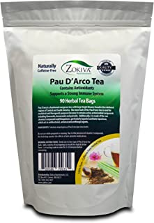 Zokiva Nutritionals - PAU D'arco Tea Bags - 90 Premium Ipe Roxo Bark Tea Bags - 100% Pure All-Natural Immune System Suppor...