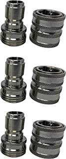 MTM Hydro Stainless Steel Garden Hose Quick Connect Garden Hose Connector Kit 3/4 Inch Solid Stainless Steel Fittings - Great for Pressure Washers and Home Use (SS GH Plug and Coupler Pack 3X3)