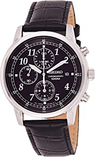 Men's SNDC33 Classic Black Leather Black Chronograph Dial Watch