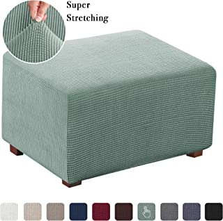 Stretch Jacquard Universal Ottoman Cover, Easy Fitted Oversized Storage Ottoman Covers Slipcover,High Elasticity Furniture Protector (Oversized, Sage)