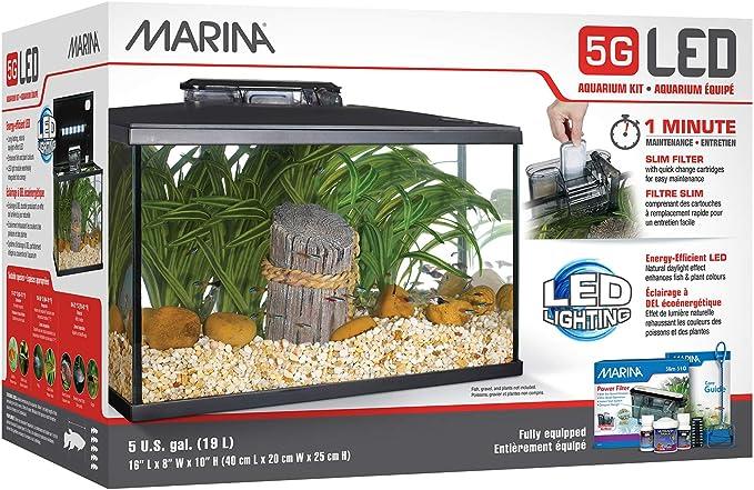 Marina Kit de Acuario con Iluminación LED 5G, 19 L