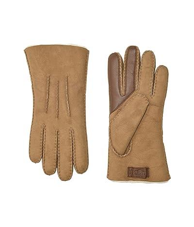 UGG Water Resistant Sheepskin Side Tab Tech Gloves (Chestnut) Extreme Cold Weather Gloves