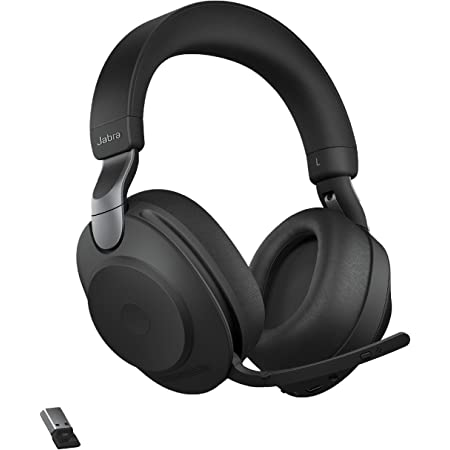 Jabra Evolve2 85 UC Wireless Headphones with Link380a, Stereo, Black – Wireless Bluetooth Headset for Calls and Music, 37 Hours of Battery Life, Advanced Noise Cancelling Headphones