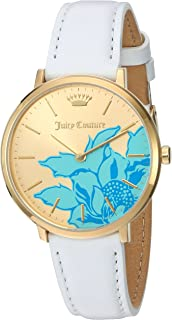Juicy Couture La Ultra Slim White Leather Strap Analog Watch -1901457