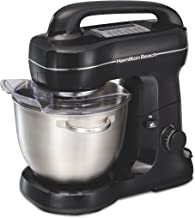 Hamilton Beach Electric Stand Mixer, Tilt-Head, 4 Quarts, 7 Speeds With Whisk, Dough Hook, Flat Beater Attachments, Splash Guard, Black (63391),