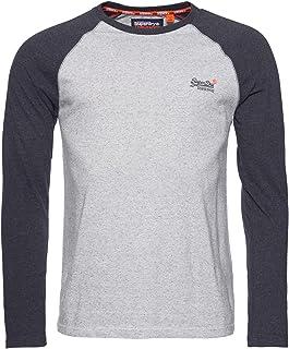 Superdry Men's Orange Label Texture Baseball Longsleeved T-Shirt, Beige