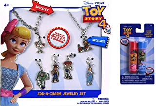 Disney Toy Story 4 Charm Necklace & Bracelet Set with Interchangeable Character Charms & 2 Pack Lip Balm Gift Set