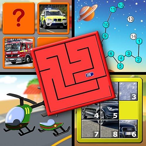保育園幼稚園のアルファベットを数えるとジグソー図形の文字から小さな子供を教える子供車とトラックのロジックとメモリのパズル-