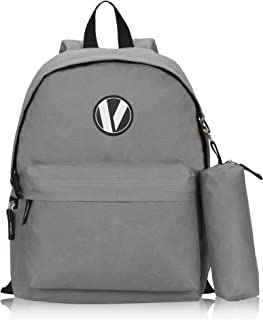 Veegul School Backpack Set with Pencil Case for Teens Boys Girls Gray