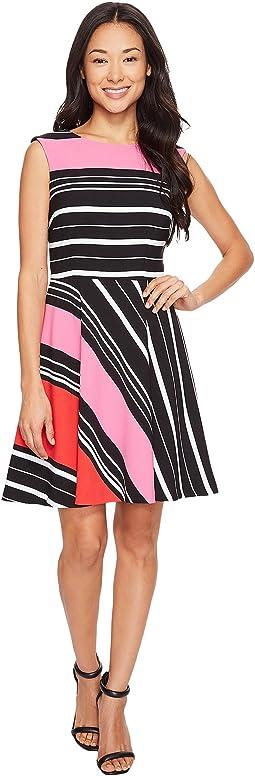 Petite Crepe Multi Stripe A-Line Dress