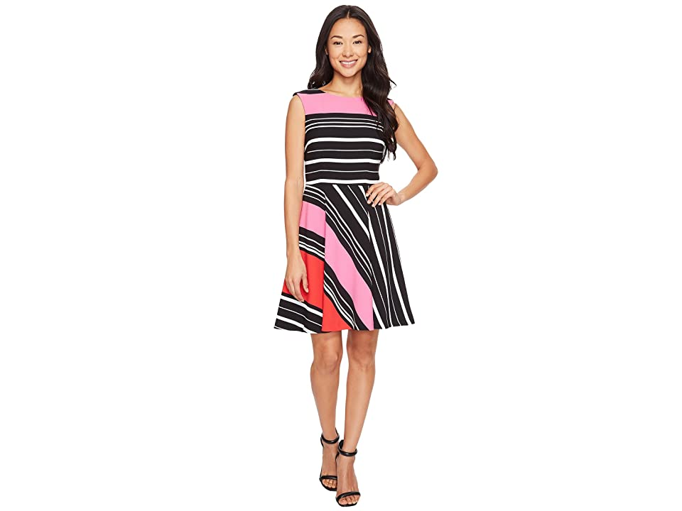 Tahari by ASL Petite Crepe Multi Stripe A-Line Dress (Black/Magenta/White) Women