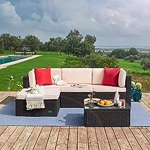 Tuoze 5 Pieces Patio Furniture Sectional Set Outdoor PE Rattan Wicker Lawn Conversation Sets Cushioned Garden Sofa Set wit...