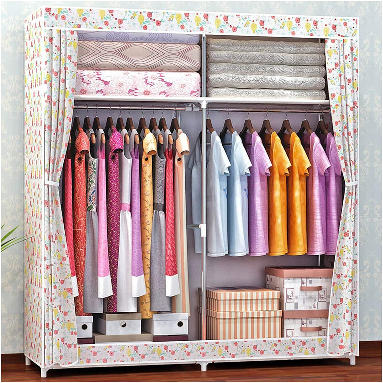 Cloth Wardrobe for Clothes Fabric Folding Portable Closet Storage Cabinet Bedroom Home Furniture,05