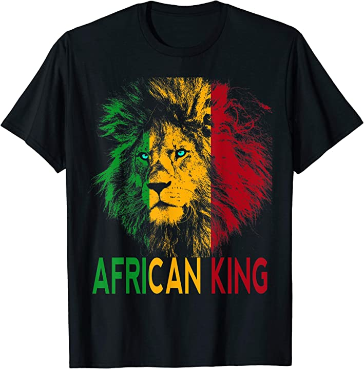 African King T-shirt Africa Flag Lion Black Men Women Kids