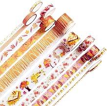 10Rolls Maple Leaf Washi Tape, Fall Masking Tape Set Decorative for Thanksgiving, DIY Crafts, Bullet Journal Supplies, Scr...