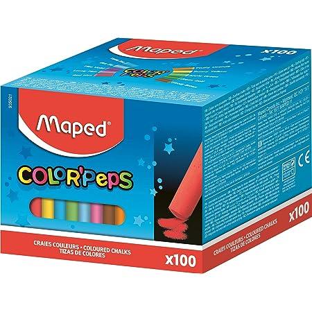 Maped - Craies Fines pour Tableau Noir et Ardoise Naturelle - Boîte de 100 Craies de 10 Couleurs Vives