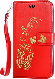 Wallet Tasche Butterfly gepr/ägte Serie Bronzing Schutzh/ülle f/ür Sony Xperia M2 Rot 4,8 Zoll Handyh/ülle Anlike Sony Xperia M2 H/ülle 4,8 Zoll