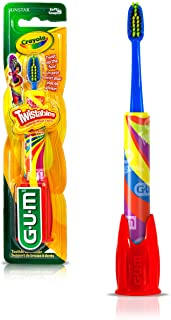 GUM Crayola Twistables Kids' Toothbrush With Fun Twisting Head, Soft Bristles, ages 3+, Colour Varies, 1 Count