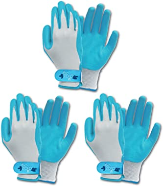 Set of 3 Long Cuff Digz Grip Planter Women's Small Synthetic Leather Palm All Purpose Work/Garden Gloves - Comfort Fit (Large