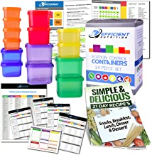Portion Control Containers DELUXE Kit (14-Piece) with COMPLETE GUIDE + 21 DAY PLANNER + RECIPE eBOOK by Efficient Nutrition - BPA FREE Color Coded Meal Prep System for Diet and Weight Loss