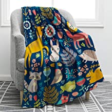 Jekeno Cartoon Forest Animals Blanket Soft Warm Deer Rabbit Owl Fox Print Throw Blanket for Kids Adults Gift Sofa Chair Bed Office 50