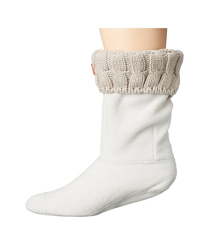 Hunter  6 Stitch Cable Boot Sock - Short (Greige) Womens Crew Cut Socks Shoes