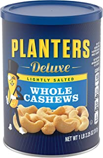 PLANTERS Deluxe Lightly Salted Whole Cashews, 18.25 oz. Resealable Canister | Lightly Salted Cashews & Lightly Salted Nuts | Nutrient Dense Snacks for Adults & Kids | Vegan Snacks, Kosher