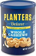 PLANTERS Deluxe Lightly Salted Whole Cashews, 1 lb 2.25 Oz (18.25 Oz) Resealable Canister - Lightly Salted Cashews & Light...